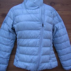 Athleta Packable Down Puffer Jacket in Silver Gray